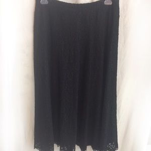 Susan Graver Long Lined Black Lace Knit Skirt XL